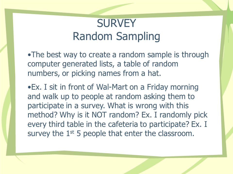 SURVEY Random Sampling