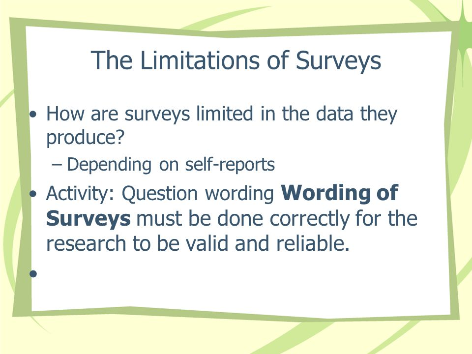 The Limitations of Surveys
