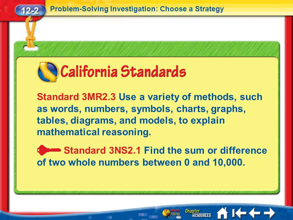 12-2 Problem-Solving Investigation: Choose a Strategy.
