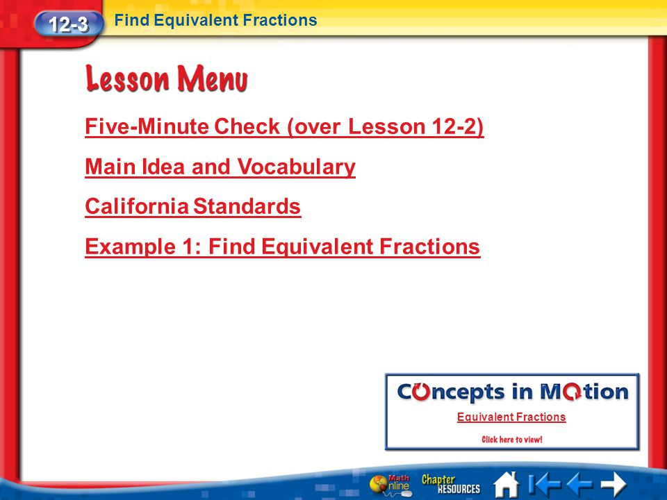 Five-Minute Check (over Lesson 12-2) Main Idea and Vocabulary