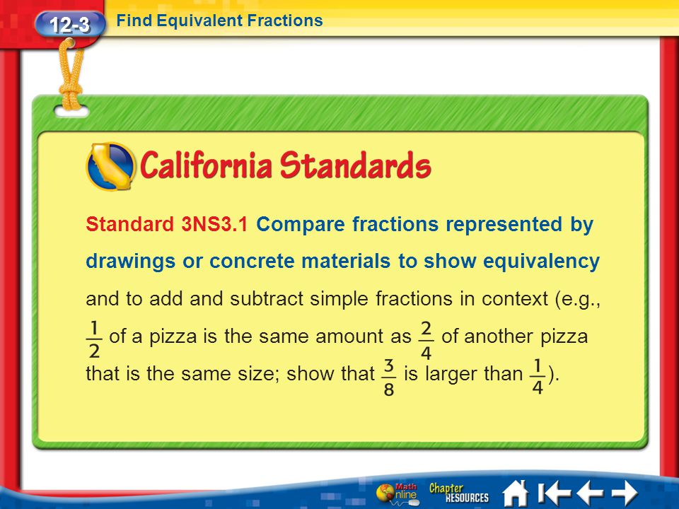 12-3 Find Equivalent Fractions.