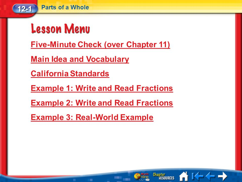 Five-Minute Check (over Chapter 11) Main Idea and Vocabulary