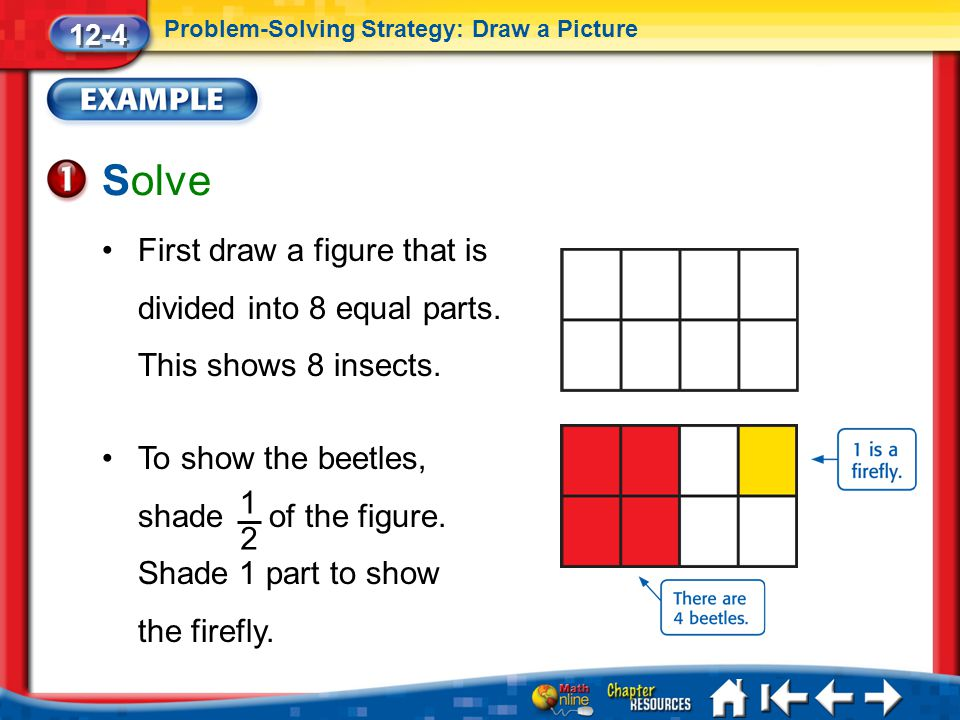 12-4 Problem-Solving Strategy: Draw a Picture. Solve. First draw a figure that is divided into 8 equal parts. This shows 8 insects.