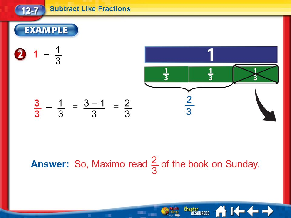 Answer: So, Maximo read of the book on Sunday. 2 3