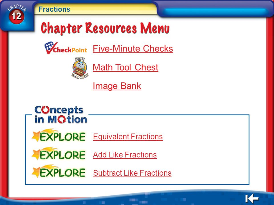 12 Five-Minute Checks Math Tool Chest Image Bank Equivalent Fractions