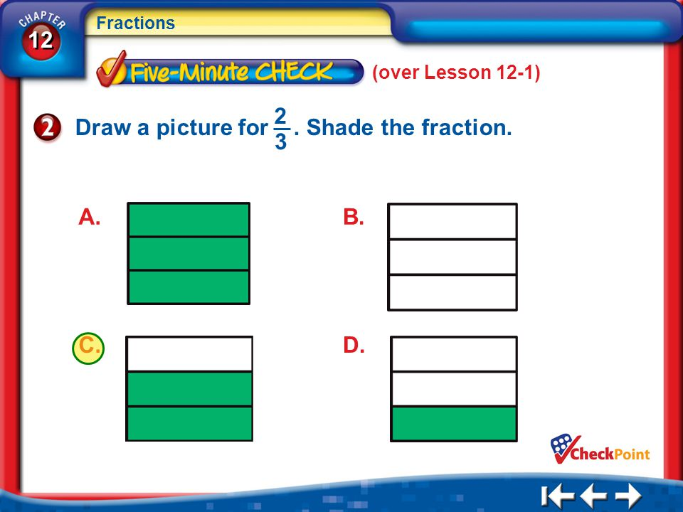 Draw a picture for . Shade the fraction. 2 3