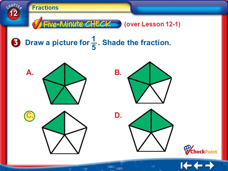 Draw a picture for . Shade the fraction. 1 5