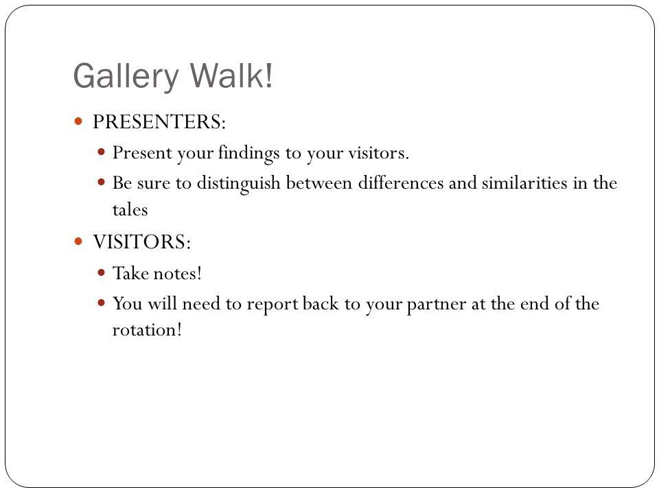 Gallery Walk! PRESENTERS: VISITORS: