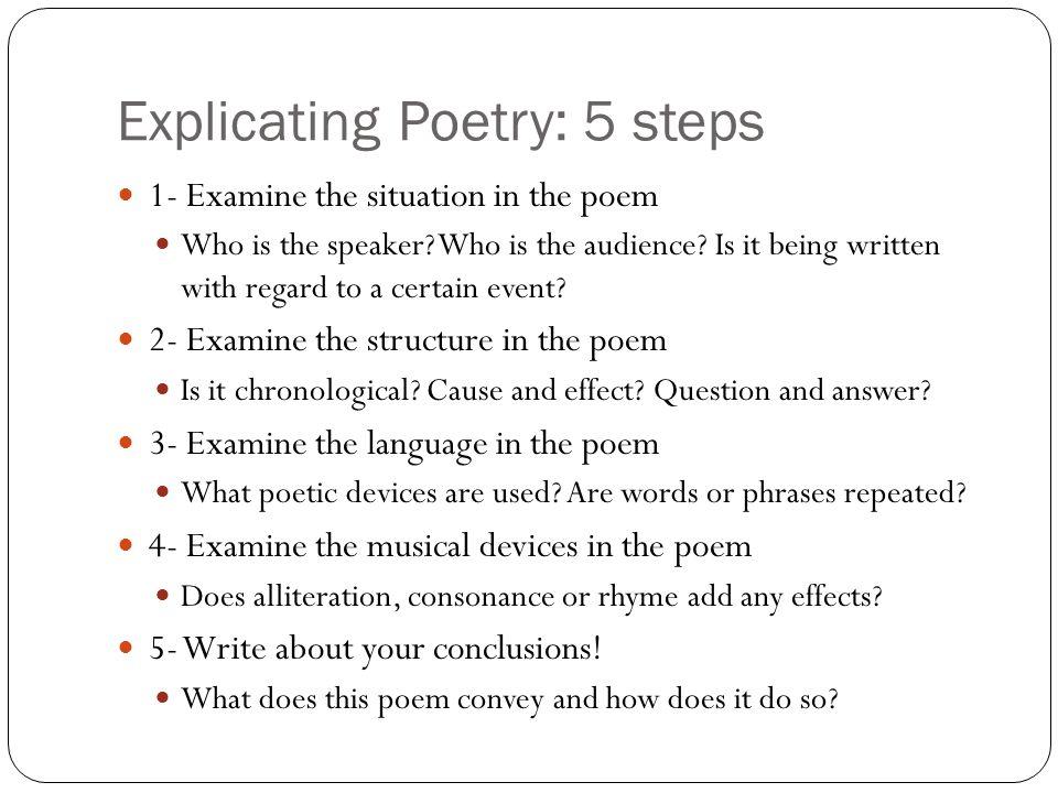 Explicating Poetry: 5 steps
