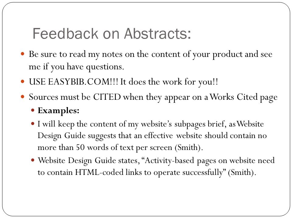 Feedback on Abstracts: