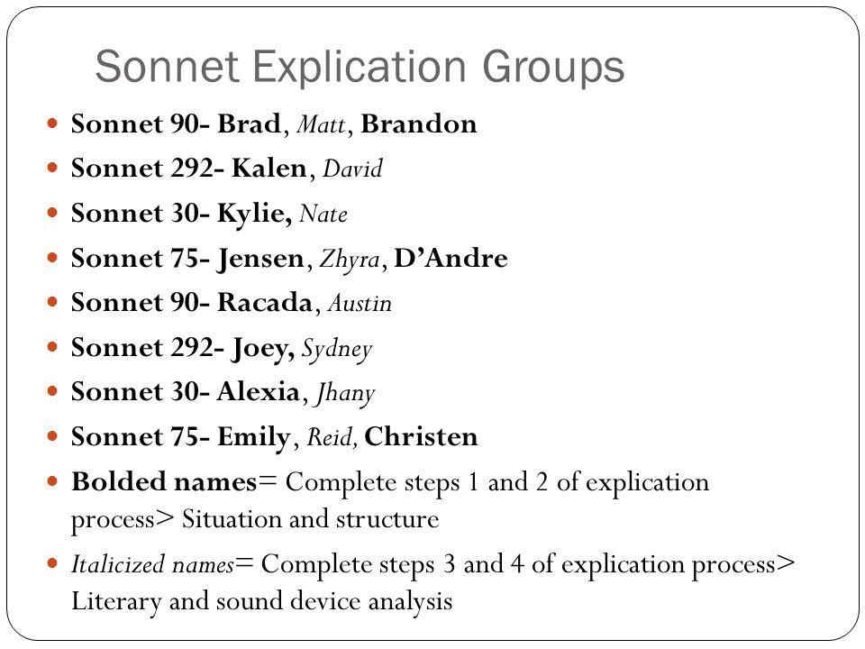 Sonnet Explication Groups