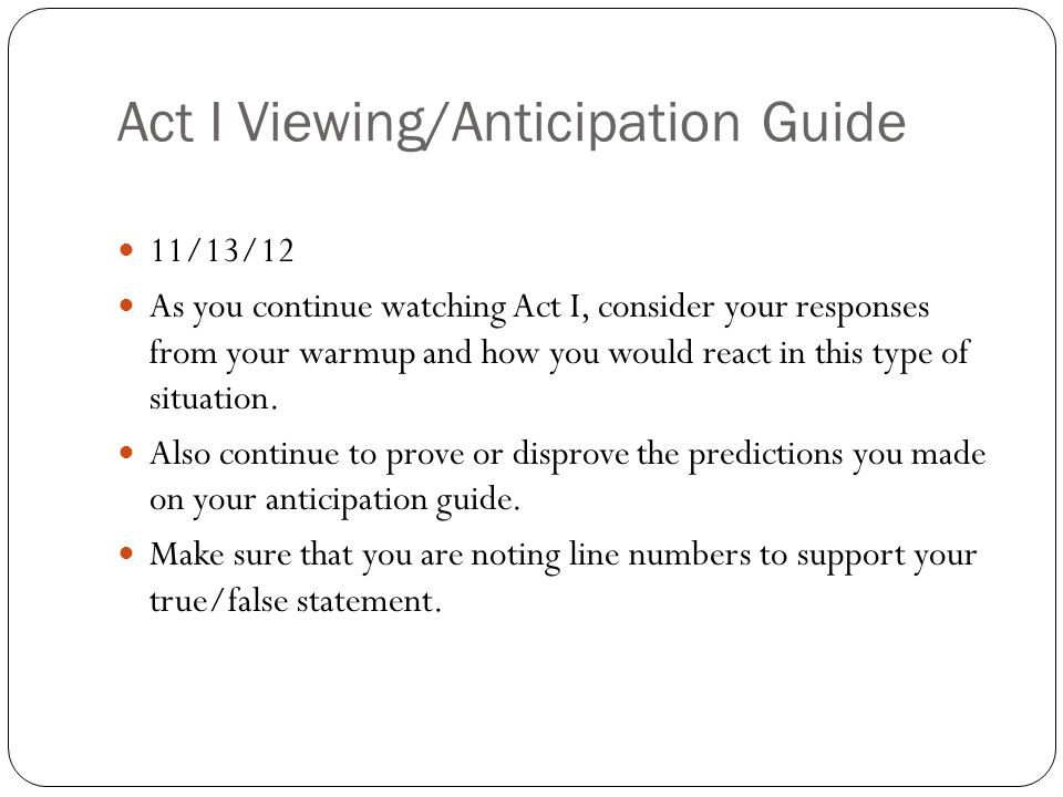 Act I Viewing/Anticipation Guide
