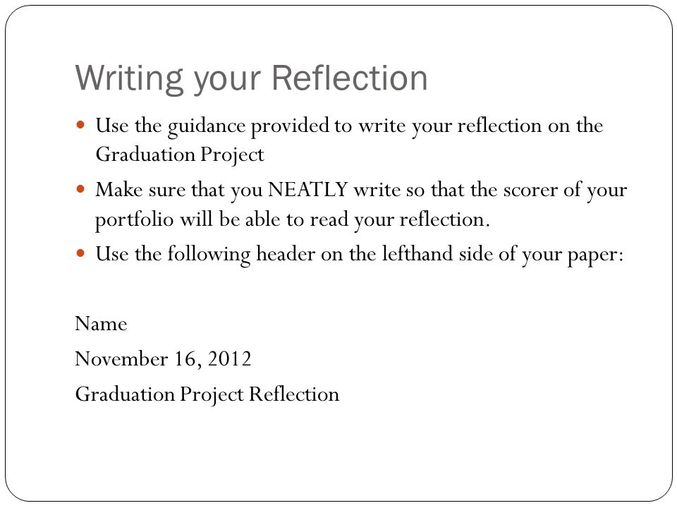 Writing your Reflection