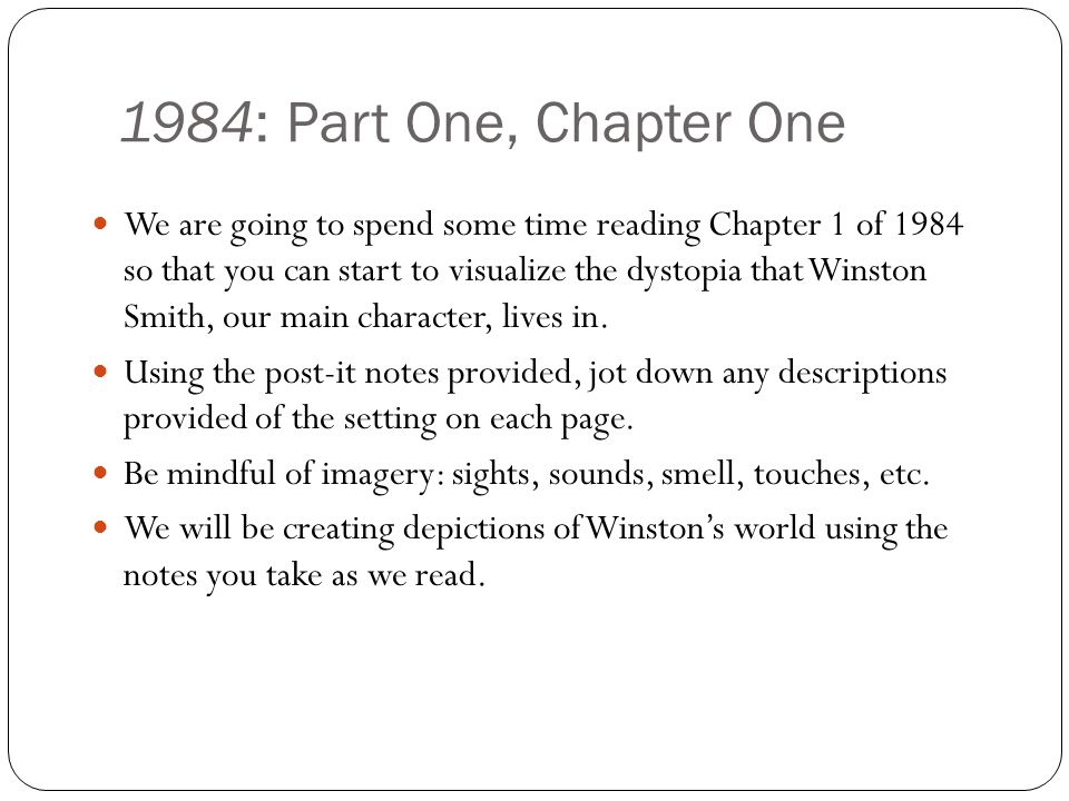 1984: Part One, Chapter One