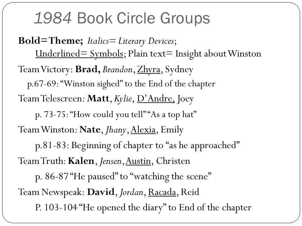 1984 Book Circle Groups Bold= Theme; Italics= Literary Devices; Underlined= Symbols; Plain text= Insight about Winston.