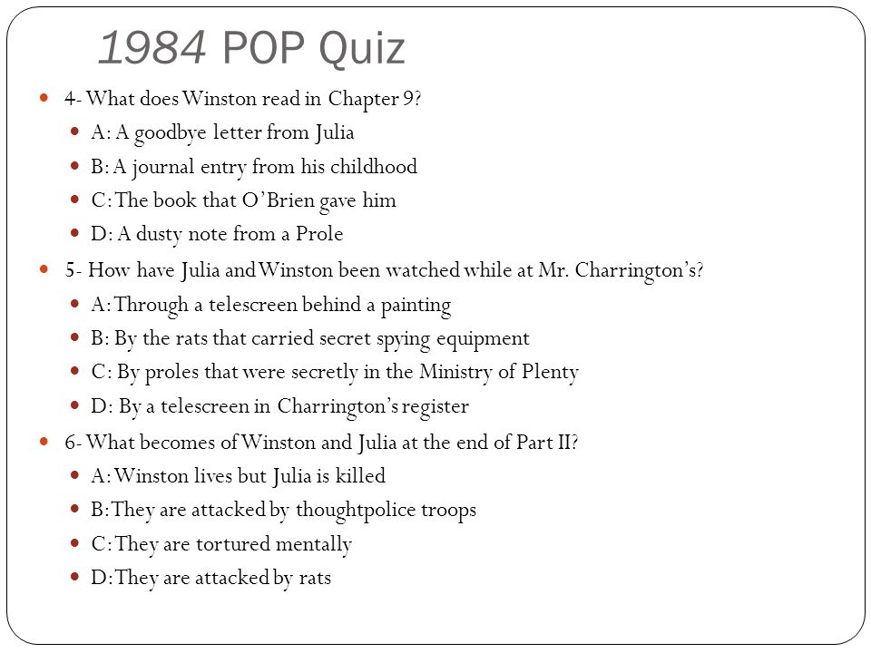 1984 POP Quiz 4- What does Winston read in Chapter 9