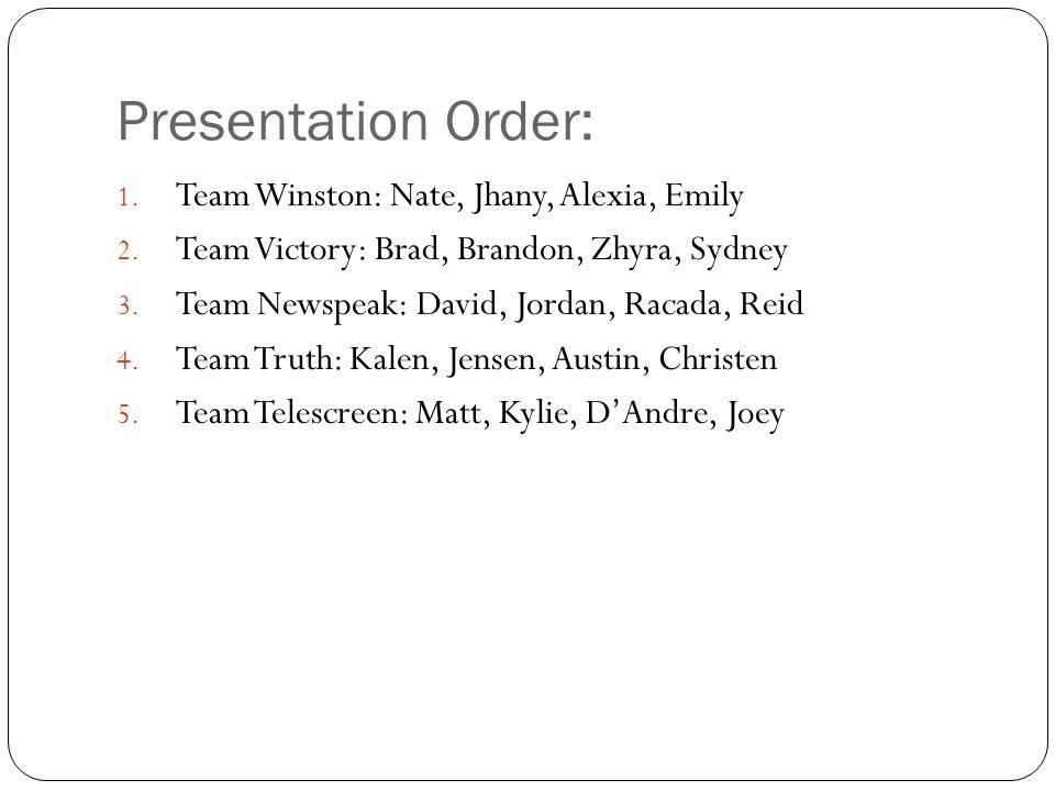 Presentation Order: Team Winston: Nate, Jhany, Alexia, Emily