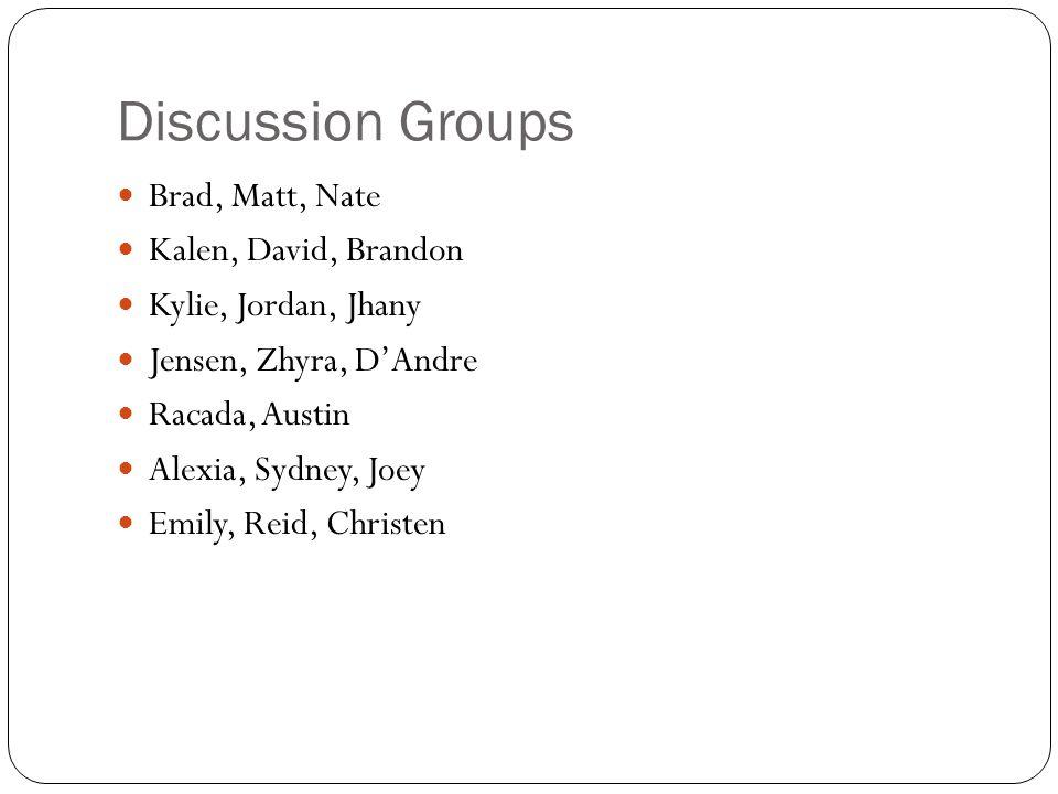 Discussion Groups Brad, Matt, Nate Kalen, David, Brandon