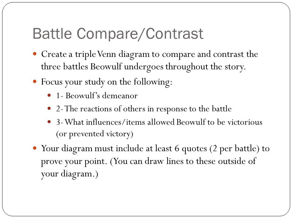 compare and contrast essay between beowulf 07082018  compare and contrast ideas, themes, and important points from beowulf by richard wilbur part of a comprehensive study guide by bookragscom.