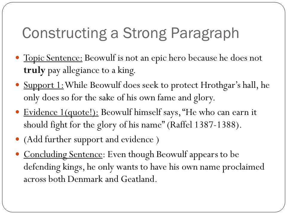 Constructing a Strong Paragraph