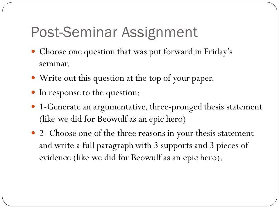 Post-Seminar Assignment