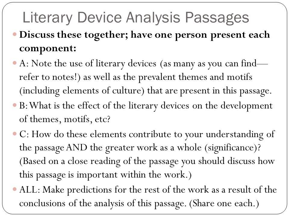 Literary Device Analysis Passages