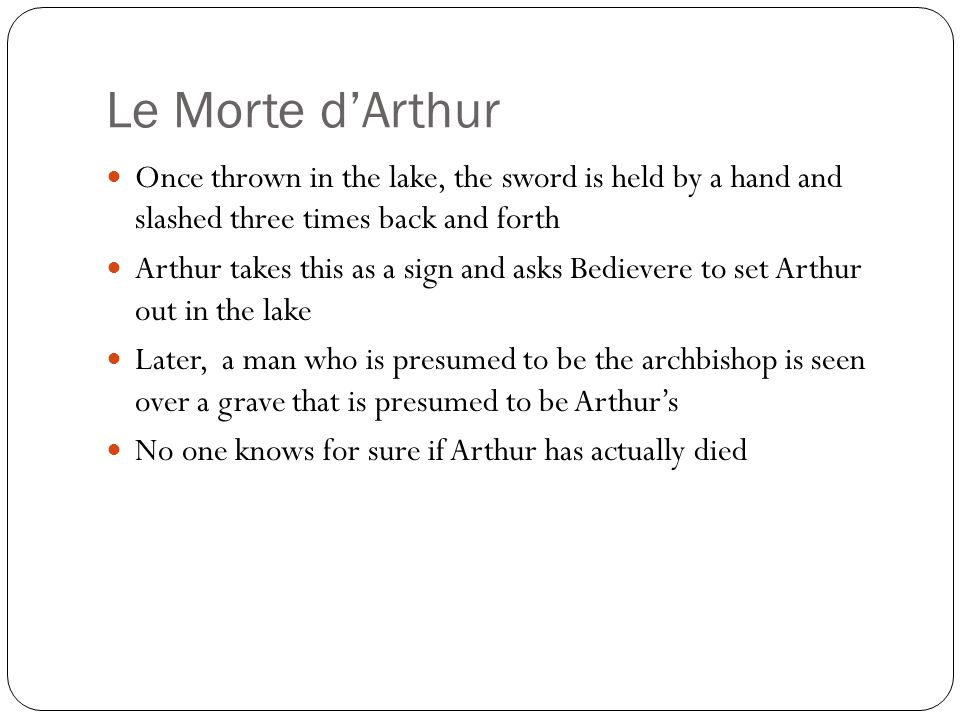 Le Morte d'Arthur Once thrown in the lake, the sword is held by a hand and slashed three times back and forth.