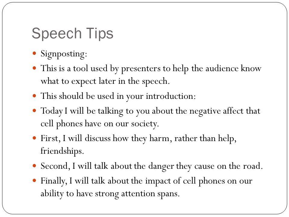 Speech Tips Signposting: