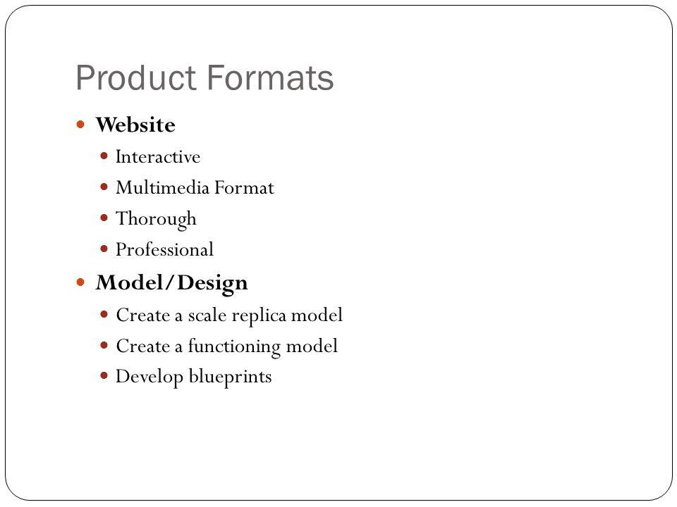 Product Formats Website Model/Design Interactive Multimedia Format