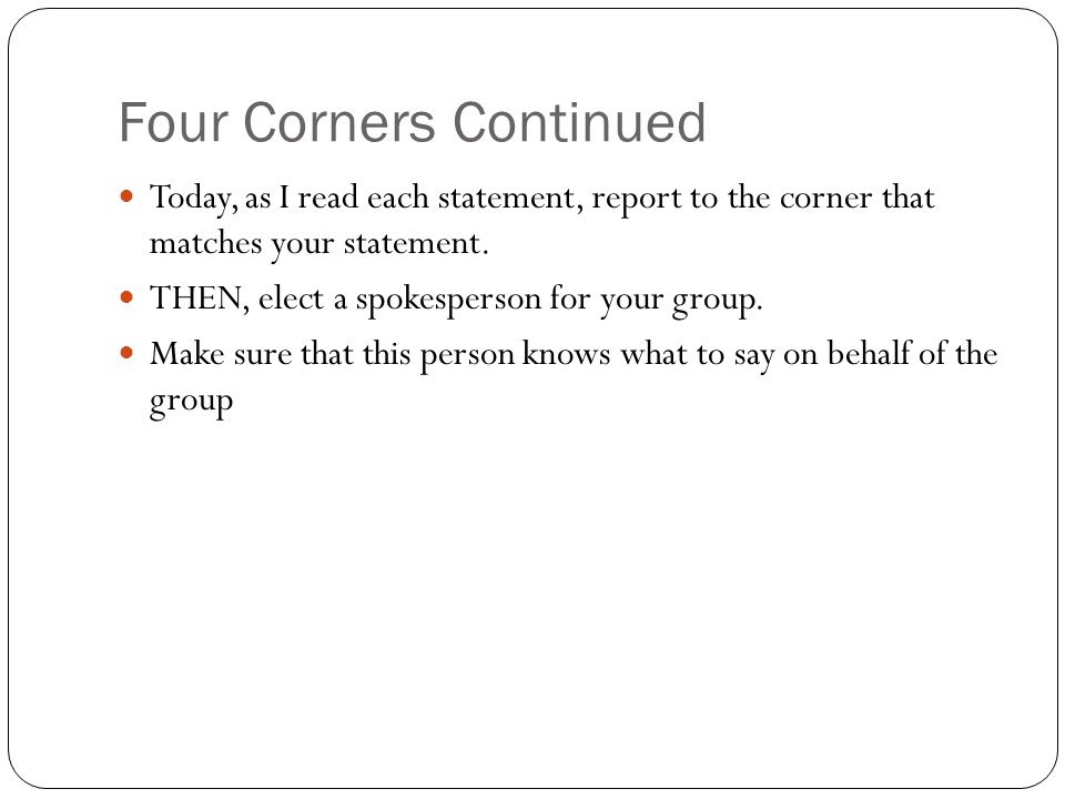 Four Corners Continued