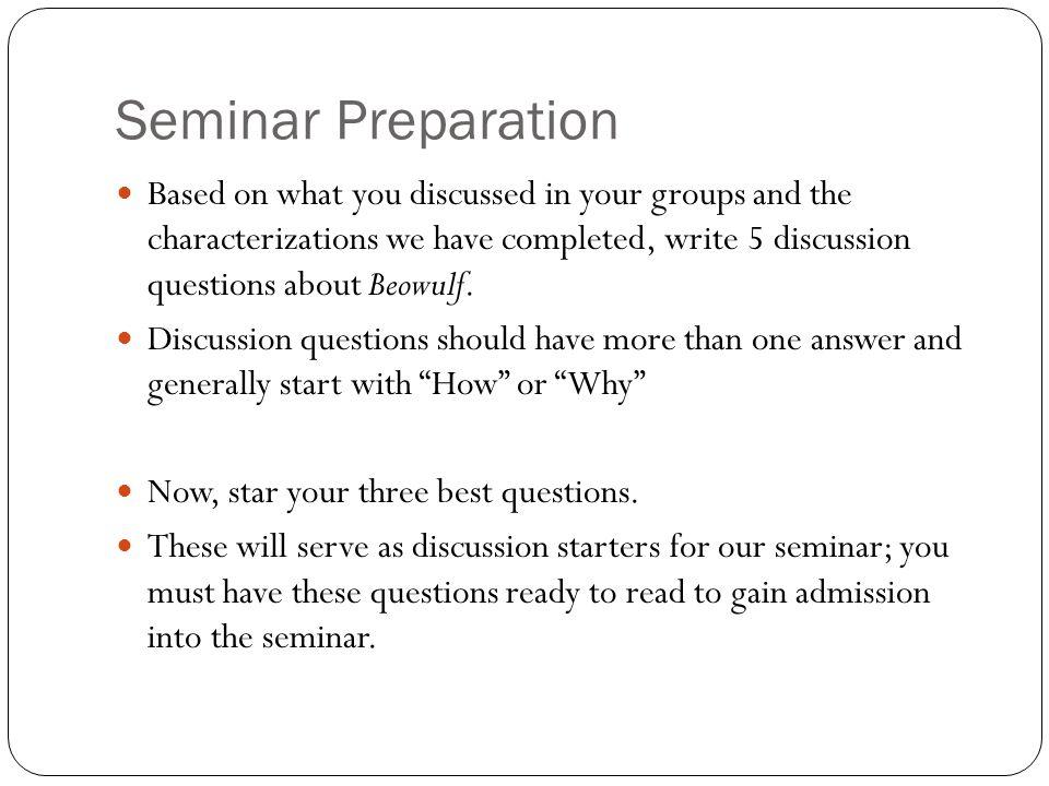 Seminar Preparation
