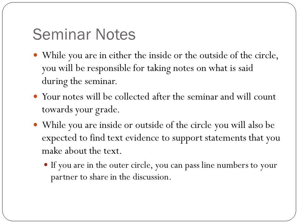 Seminar Notes