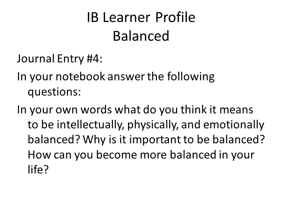 IB Learner Profile Balanced