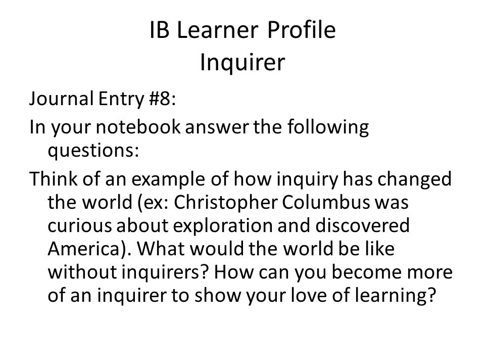 IB Learner Profile Inquirer
