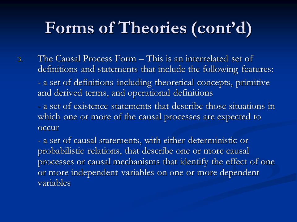 Forms of Theories (cont'd)
