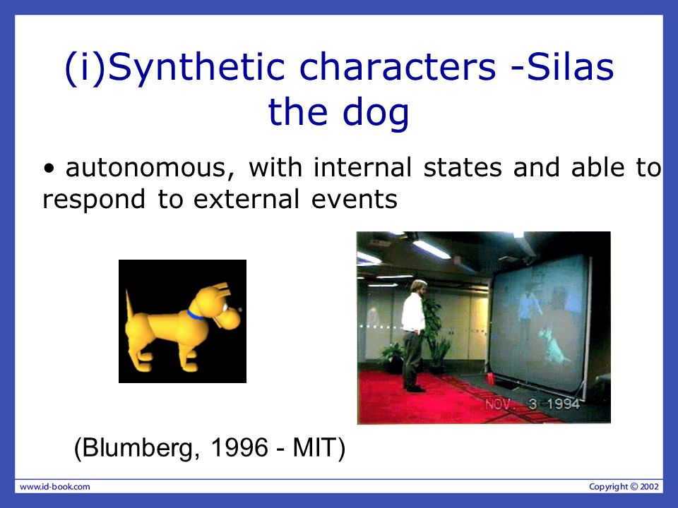 (i)Synthetic characters -Silas the dog