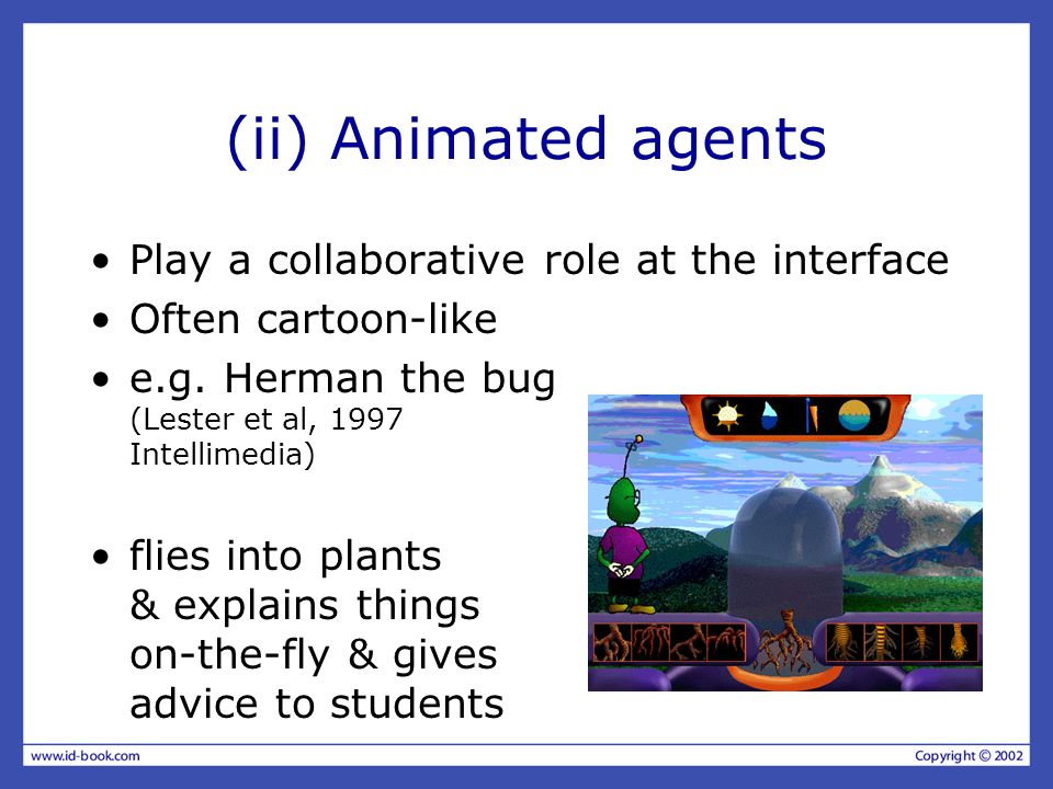 (ii) Animated agents Play a collaborative role at the interface