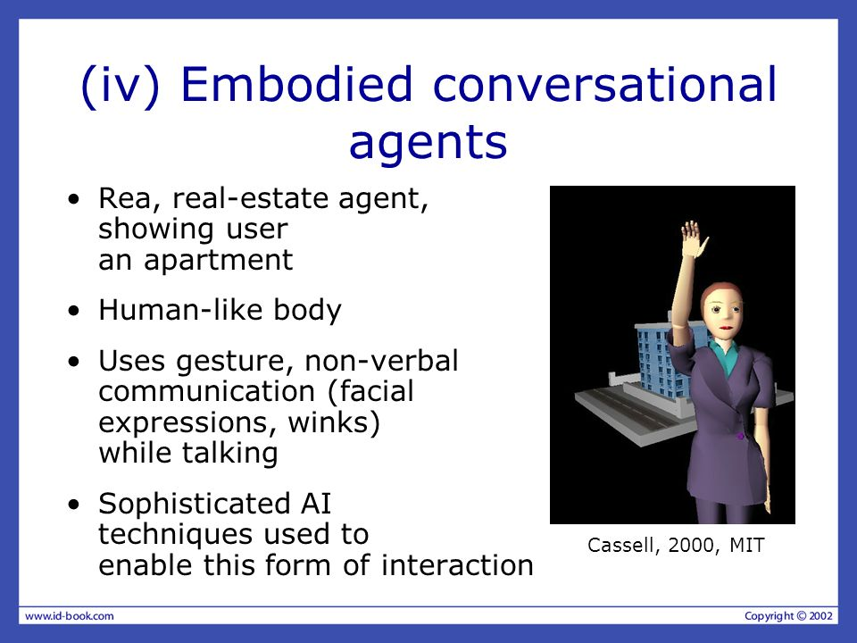 (iv) Embodied conversational agents