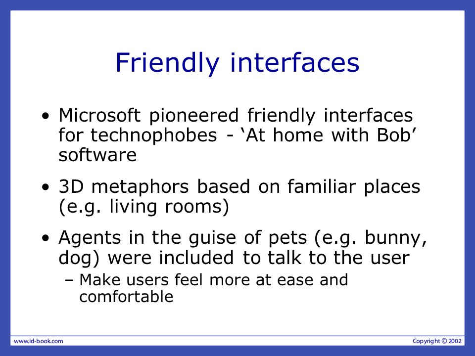 Friendly interfaces Microsoft pioneered friendly interfaces for technophobes - 'At home with Bob' software.