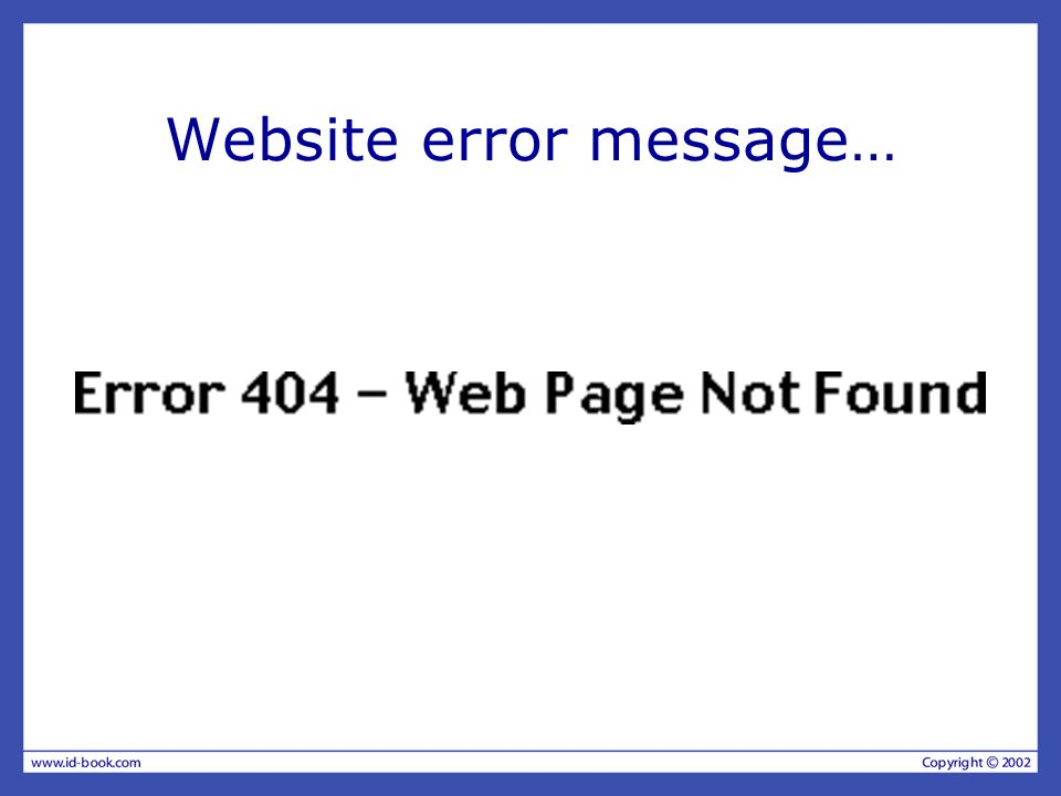 Website error message…