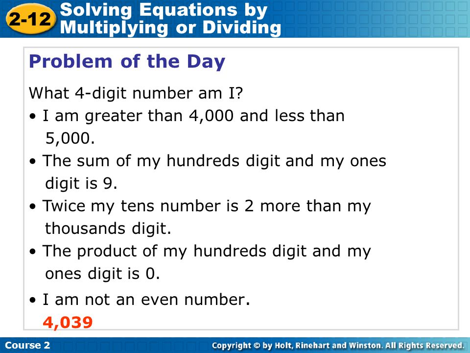 Solving Equations by Multiplying or Dividing