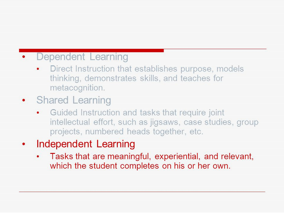 Dependent Learning Shared Learning Independent Learning