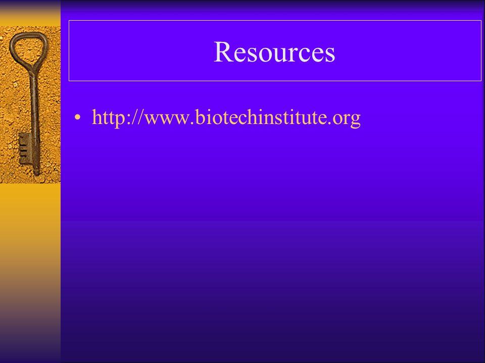 Resources http://www.biotechinstitute.org