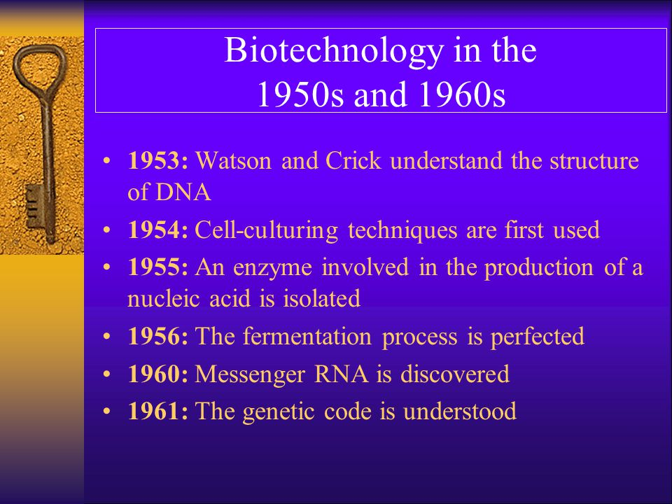 Biotechnology in the 1950s and 1960s