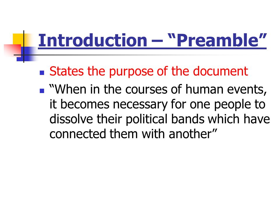 Introduction – Preamble