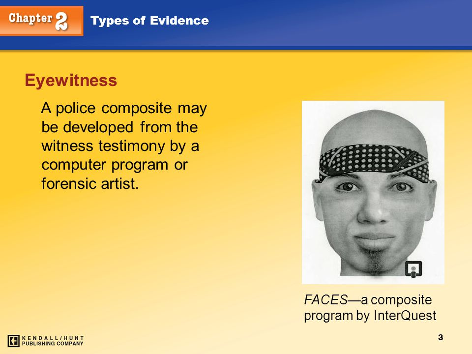 Chapter 2 Eyewitness. A police composite may be developed from the witness testimony by a computer program or forensic artist.