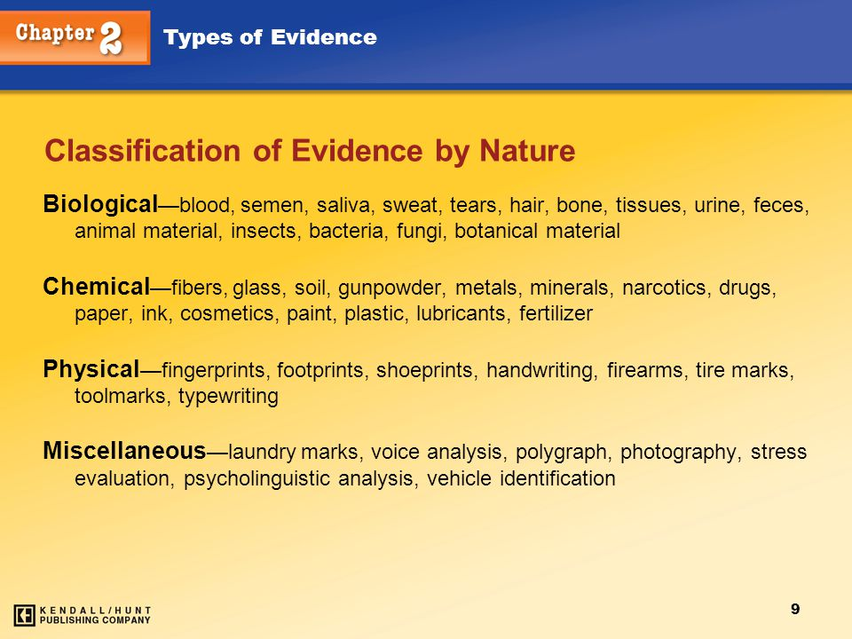 Classification of Evidence by Nature