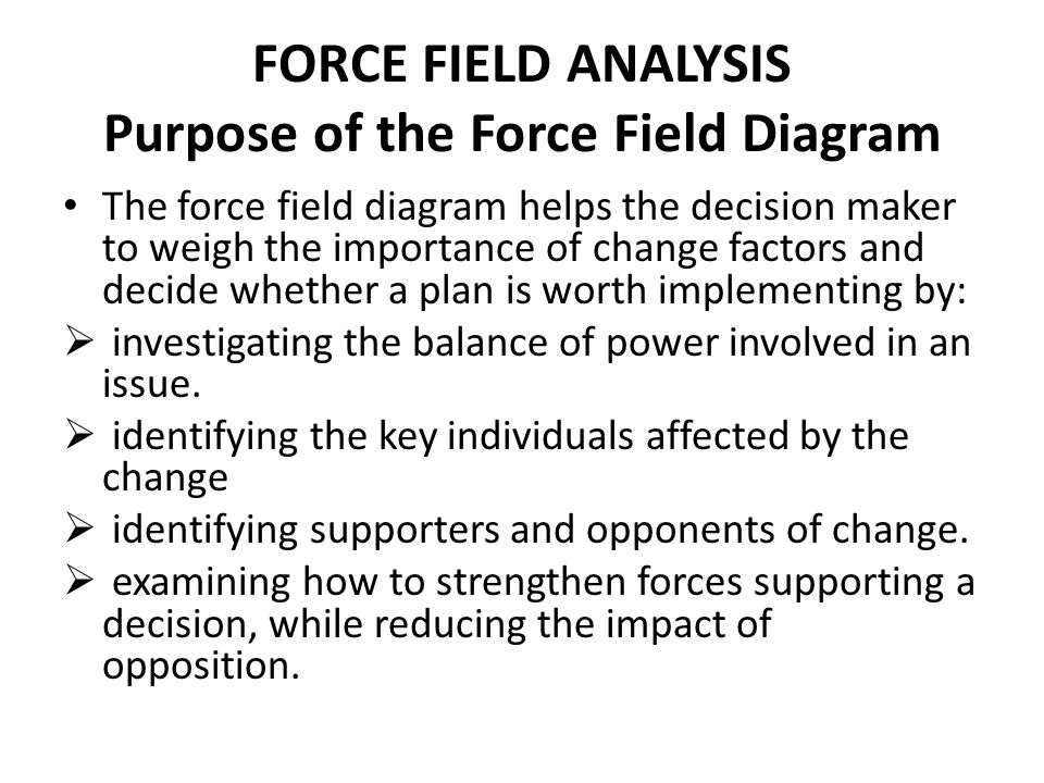 FORCE FIELD ANALYSIS Purpose of the Force Field Diagram