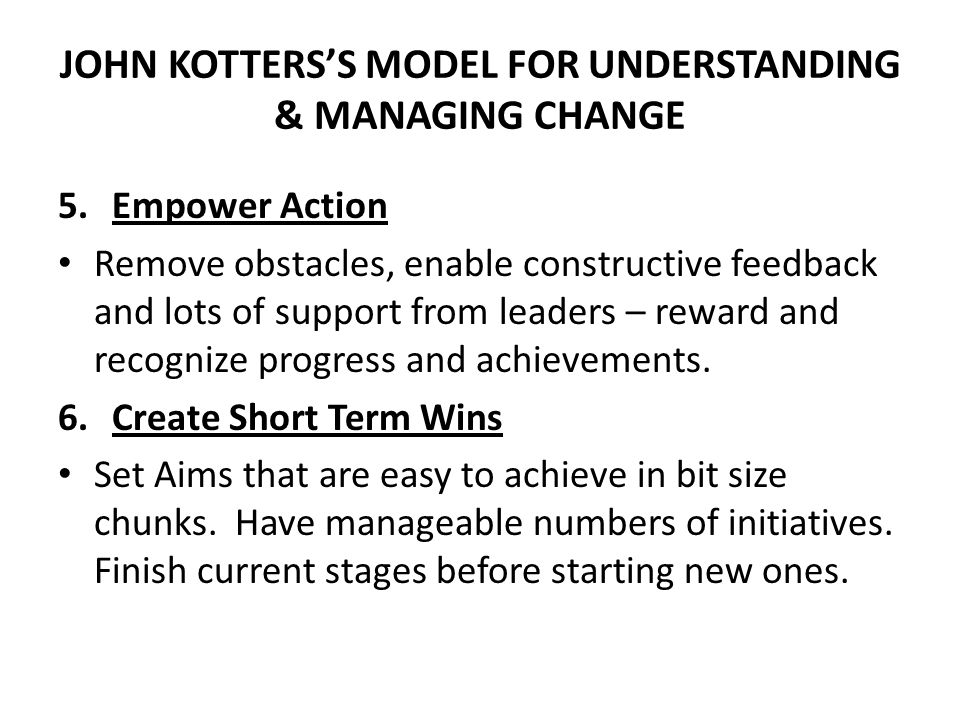 JOHN KOTTERS'S MODEL FOR UNDERSTANDING & MANAGING CHANGE