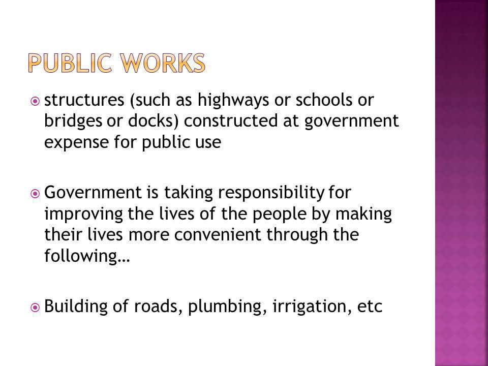 Public Works structures (such as highways or schools or bridges or docks) constructed at government expense for public use.